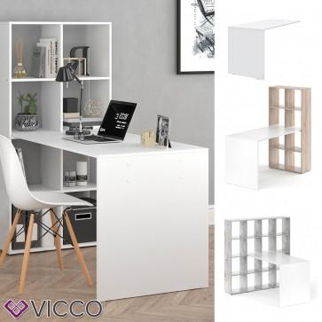 VICCO Schreibtisch JAN - Tisch Raumteiler Bürotisch Computertisch PC weiß