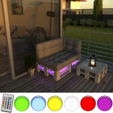 LED Palettenkissen Sitzkissen, Rückenkissen und Seitenkissen inkl. Europalette und Lehnen (Taupe-grau)