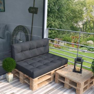Palettenkissen Set Sitz+ Rückenkissen+ Paletten Anthrazit