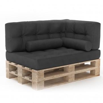 Palettenkissen Set Sitzkissen + Rückenkissen + Seitenkissen + Zierkissen Anthrazit