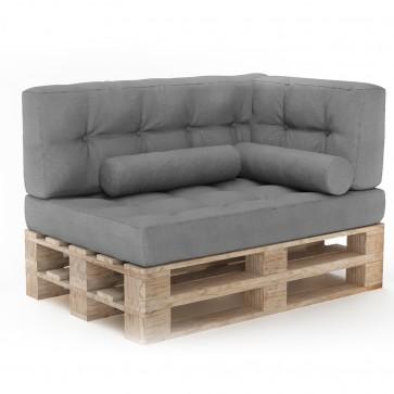 Palettenkissen Set Sitzkissen + Rückenkissen + Seitenkissen + Zierkissen Grau