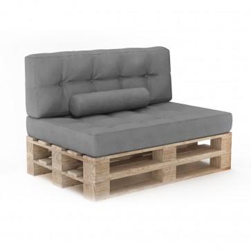 Palettenkissen Set Sitzkissen + Rückenkissen + Zierkissen Grau