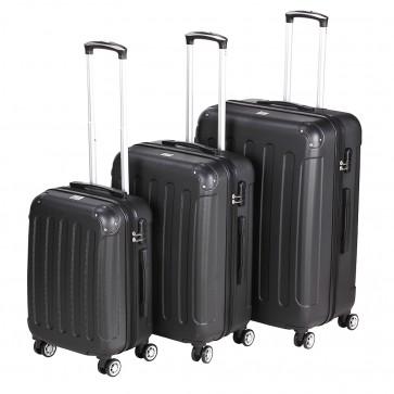 Reisekoffer-Set SYLT schwarz bestehend aus 3 Größen M L XL - Hartschale Trolley Tasche Gepäck