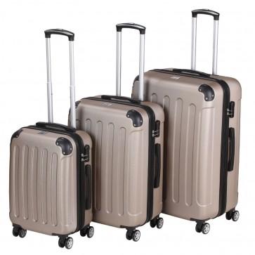 Reisekoffer-Set SYLT champagne bestehend aus 3 Größen M L XL - Hartschale Trolley Tasche Gepäck