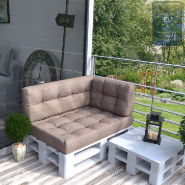 Palettenkissen Set Sitz+Rücken+Seitenkissen Taupe-Grau