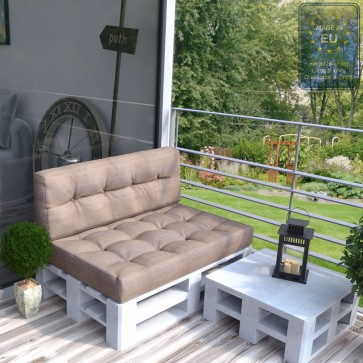 Palettenkissen Set Sitz+Rückenkissen Taupe-Grau
