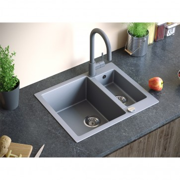Bergstroem (610x495 mm) Einbauspüle Granit Spüle Verbundwerkstoff  (Grau)