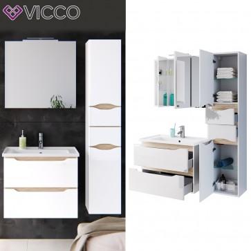 VICCO Badmöbel Set LIGA AIR 80 cm Weiß Hochglanz - Bad Waschtisch Spiegelschrank Badhochschrank