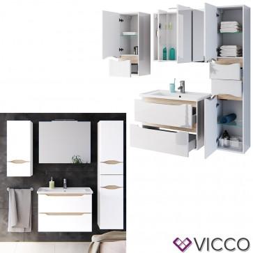 VICCO Badmöbel Set LIGA AIR 80 cm Weiß - Waschtisch Spiegelschrank Midischrank Badhochschrank