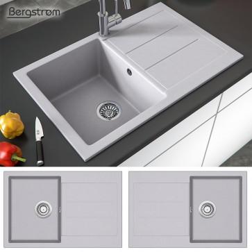 Granit Spüle Küchenspüle Einbauspüle Spülbecken Küche + Siphon grau 780 x 500 mm / inkl. (Siphon, Sieb-Abfluss, Überlauf)