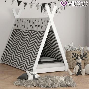 VICCO Hausbett Kinderhaus Kinderbett TIPI 90x200cm Holz Weiß mit 7-Zonen Kaltschaummatratze