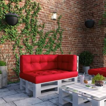 Palettenkissen Set Sitz-, Rücken- und Seitenkissen Rot