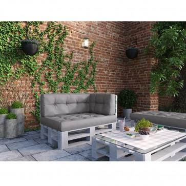 Palettenkissen Set Sitz-, Rücken- und Seitenkissen Grau