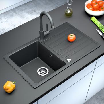 Armatur Küchenarmatur Wasserhahn Ausziehbar Mischbatterie Grau