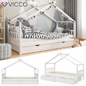 VICCO Kinderbett DESIGN Hausbett mit Schubladen und Lattenrost in weiß 90x200cm