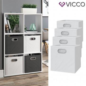 VICCO 4er Set Faltbox 30x30 cm weiß