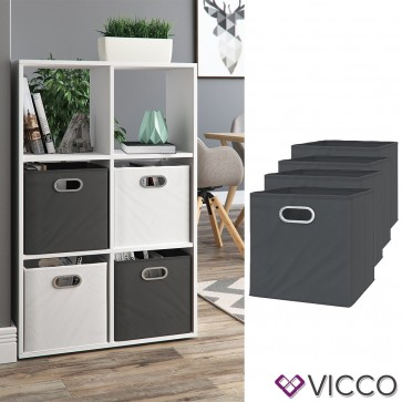 VICCO 4er Set Faltbox 30x30 cm anthrazit