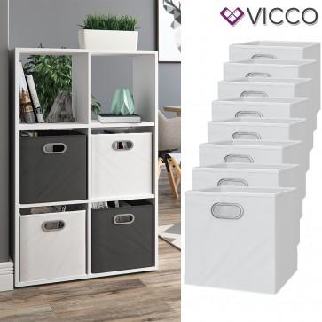 VICCO 8er Set Faltbox 30x30 cm weiß
