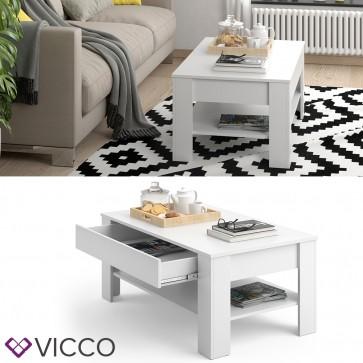 VICCO Couchtisch Milan mit Schublade 100 x 60 cm in Weiß