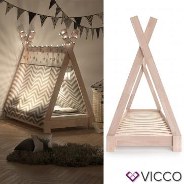 VICCO Kinderbett TIPI Indianer Bett Kinderhaus Zelt Holz Hausbett 70x140cm Natur