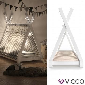 VICCO Kinderbett TIPI Indianer Bett Kinderhaus Zelt Holz Hausbett 80x160cm weiß