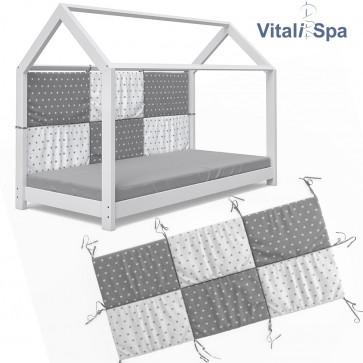 VITALISPA Bettrückwand Wiki 160x72 Grau-Weiß