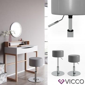 VICCO Design Hocker / Schminkhocker höhenverstellbar in grau