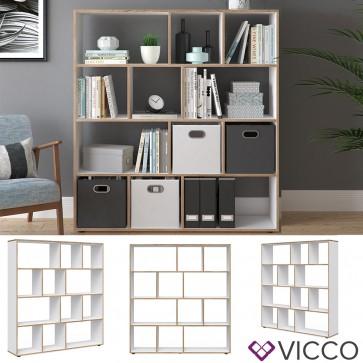VICCO Raumteiler 12 Fächer Weiß Sonoma- Raumtrenner Bücherregal Standregal 131,6 x 143 x 29 cm (BxHxT), Spanplatte