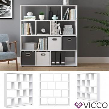 VICCO Raumteiler 12 Fächer Weiß - Raumtrenner Bücherregal Standregal