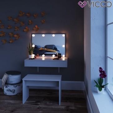 """VICCO Schminktisch """"ALESSIA"""" weiß mit LED und Bank"""