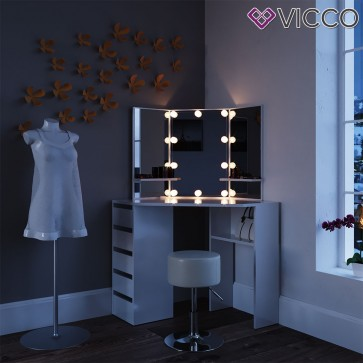 Eck-Schminktisch Arielle Weiß mit LED-Beleuchtung