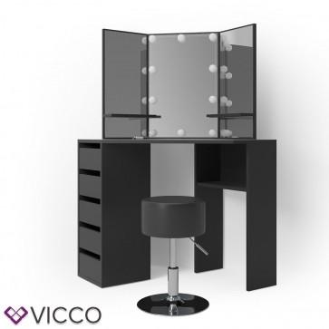 VICCO Schminktisch ARIELLE Schwarz mit Hocker und LED-Beleuchtung