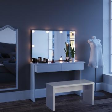 """Schminktisch mit Bank, Spiegel und LED-Beleuchtung  """"Azur"""" weiß"""