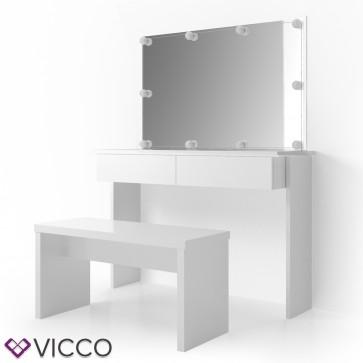 Vicco Schminktisch Azur Weiß mit Bank, Spiegel und LED-Beleuchtung