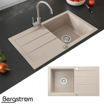 Bergström Spüle Küchenspüle Einbauspüle Spülbecken Granit Beige 440x760mm