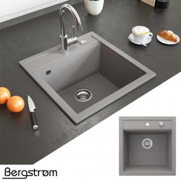 Bergström Granit Spüle Küchenspüle Einbauspüle Spülbecken 490x500mm Beton