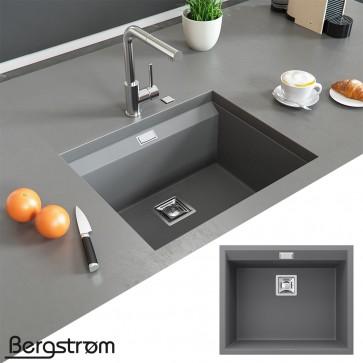 Bergström Granit Spüle Küchenspüle Einbauspüle Spülbecken 550x450mm Grau