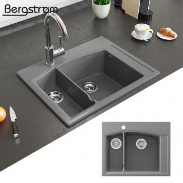 Bergström Granit Spüle Aufsatzspüle 620 x 490 mm Grau