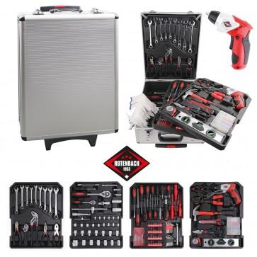 ROTENBACH Werkzeugkoffer 600 tlg. mit Akkuschrauber Werkzeugkasten Werkzeugkiste Trolley mit Werkzeug Set