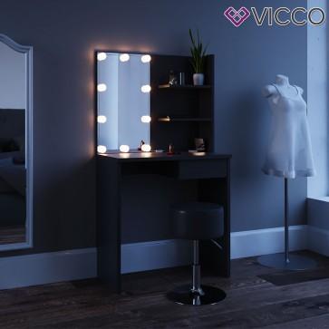 """Schminktisch Kosmetiktisch """"Dekos"""" schwarz mit LED-Beleuchtung"""