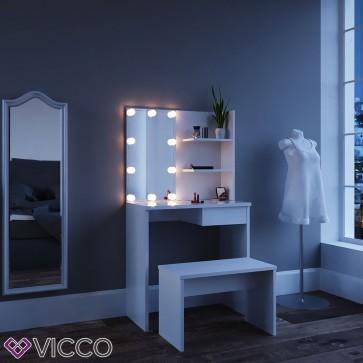 """Schminktisch Kosmetiktisch """"Dekos"""" weiß mit LED-Beleuchtung und Bank"""