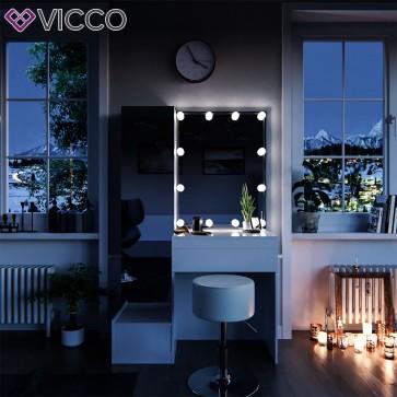 VICCO Schminktisch GLORIA mit LED - Beleuchtung und Hocker