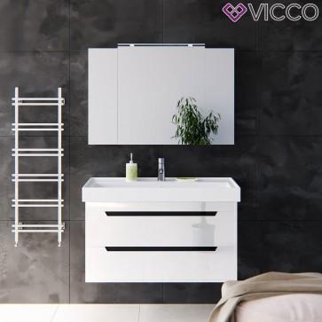 VICCO Badmöbel Set GRETA 100 cm Weiß Hochglanz - Bad Waschtisch Spiegelschrank