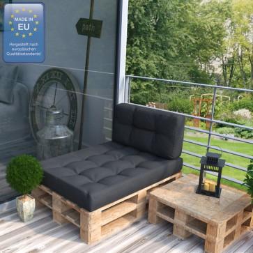 Palettenkissen Set Sitz+Seitenkissen+Seitenlehne anthrazit