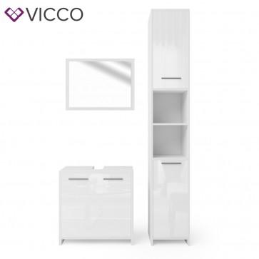 VICCO Badmöbel Set KIKO 3 Teile Weiß Hochglanz