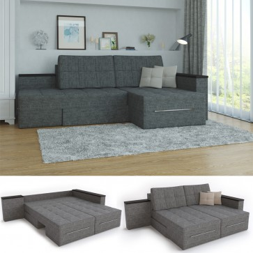 Ecksofa 3 Funktionen Grau Links