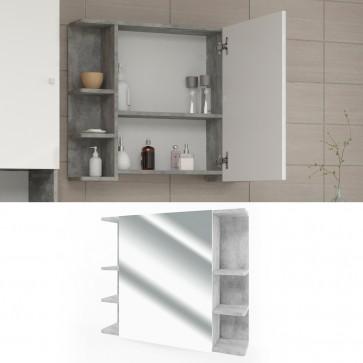 VICCO Spiegelschrank FYNN 80 x 64 cm Grau Beton