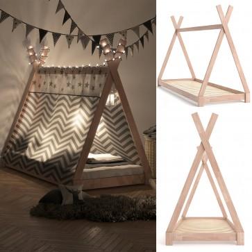 VICCO Hausbett Kinderhaus Kinderbett TIPI 90x200cm Holz Natur mit 7-Zonen Kaltschaummatratze