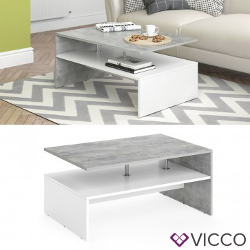 VICCO Couchtisch AMATO Weiß Beton
