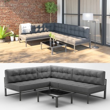 alu lounge gartenm bel inkl palettenkissen gartenlounge sitzgarnitur sitzgruppe grau. Black Bedroom Furniture Sets. Home Design Ideas